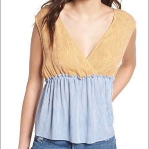 BP (Nordstrom) Mixed Stripe Tie Back Tank Small